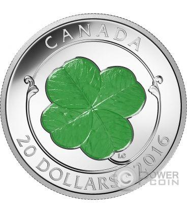 FOUR LEAF CLOVER Quadrifoglio Portafortuna Moneta Argento 20$ Canada 2016