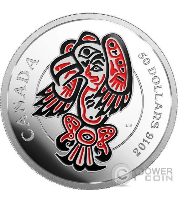 THE EAGLE Aquila Mythical Realms of Haida Gwaii Moneta Argento 50$ Canada 2016