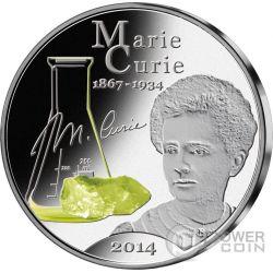 MARIE CURIE 80 Anniversario Fluorescente 1 Oz Moneta Argento 50 Vatu Vanuatu 2014