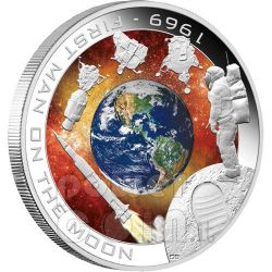 APOLLO MISSION First Man On The Moon Silver Coin 1$ Cook Islands 2009