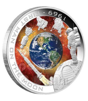 MISSIONE APOLLO Primo Uomo Sulla Luna Moneta Argento 1$ Cook Islands 2009