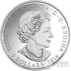 BIRTHSTONES FEBRUARY Gemstone Swarovski Silver Coin 5$ Canada 2016