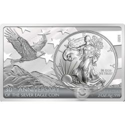 AMERICAN SILVER EAGLE 30 Anniversario 1 Oz Moneta Argento 2 Oz Bar 1$ US Mint 2016