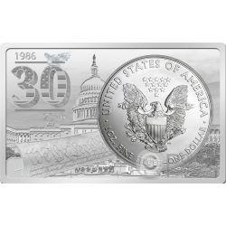 AMERICAN SILVER EAGLE 30 Anniversario 1 Oz Moneta Argento 2 Oz Bar 1$ US Mint 2016