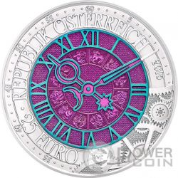 TIME Clock Niobium Серебро Bimetallic Монета 25€ Euro Австрия 2016