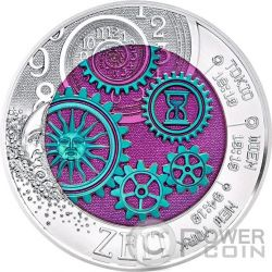 TIME Clock Niobium Silver Bimetallic Coin 25€ Euro Austria 2016