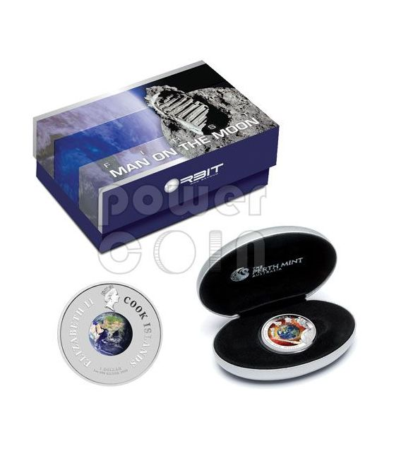 APOLLO MISSION First Man On The Moon Moneda Plata 1$ Cook Islands 2009