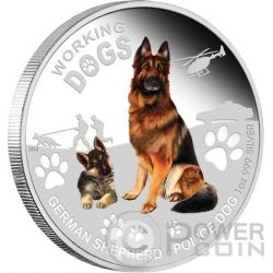 GERMAN SHEPHERD Police Dog Working Dogs Silver Coin 1$ Tuvalu 2011