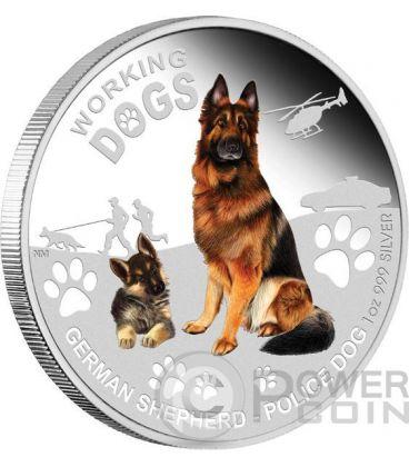 GERMAN SHEPHERD Police Dog Working Dogs Silver Coin 1$ Tuvalu 2011