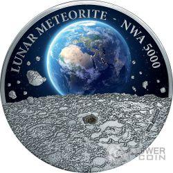 LUNAR METEORITE NWA 5000 Rock 1 Kg Kilo Silver Coin 50$ Niue 2015