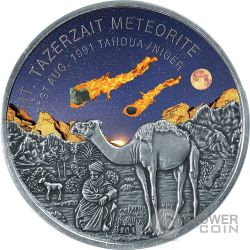 MOUNT TAZERZAIT African Meteorite Silver Coin 1000 Francs Niger 2016