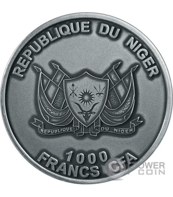 MOUNT TAZERZAIT African Meteorite Silver Coin 1000 Francs Niger 2016