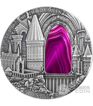 MYSTERIES OF HOGWARTS Crystal Art Castello 2 Oz Moneta Argento 2$ Niue 2015