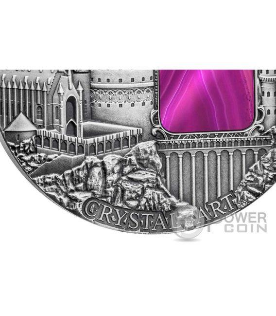 MYSTERIES OF HOGWARTS Crystal Art Castello 2 Oz Moneta Argento 2$ Niue 2015