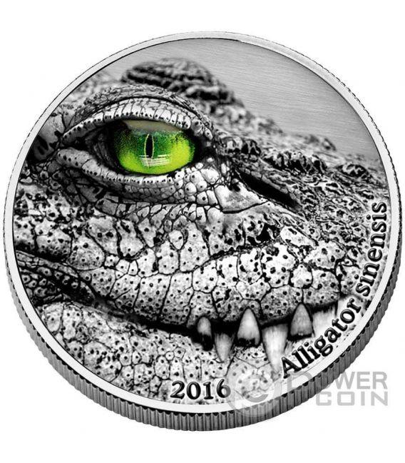 ALLIGATOR SINENSIS Natures Eyes 2 Oz Silver Coin 2000 Francs Congo 2016