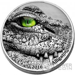 ALLIGATOR SINENSIS Natures Eyes 2 Oz Moneda Plata 2000 Francs Congo 2016