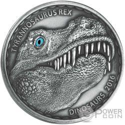 TYRANNOSAURUS REX Dinosaurs 1 Oz Silver Coin 1000 Francs Burkina Faso 2016