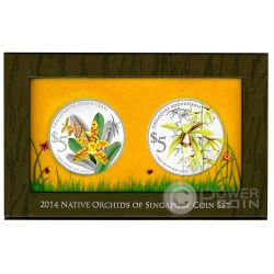 ORCHIDS Native 2 Серебро Proof Монета Set 5$ Сингапур 2014