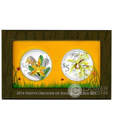ORCHIDEE Native Set 2 Monete Argento Proof 5$ Singapore 2014