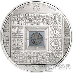 EGYPTIAN LABYRINTH Milestones of Mankind Labirinto Egiziano Moneta Argento 10$ Cook Islands 2016