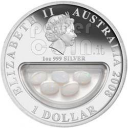 OPALE Treasures Of Australia Opals Moneta Argento 1$ 2008