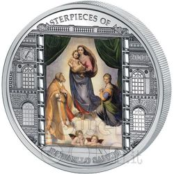 MADONNA SISTINA Raffaello Moneta Argento 3 Oz 20$ Cook Islands 2009