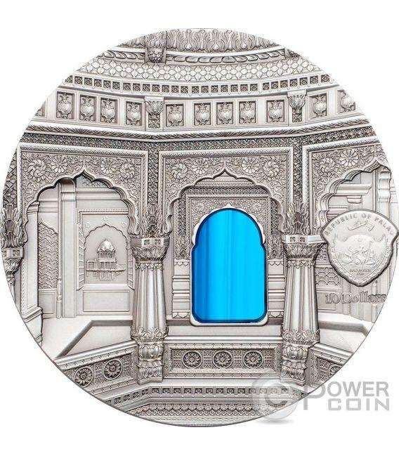 TIFFANY ART AMAR SAGAR Jain Tempio 2 Oz Moneta Argento 10$ Palau 2016
