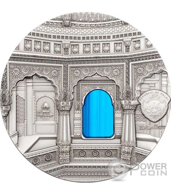 TIFFANY ART AMAR SAGAR Jain Temple 2 Oz Silver Coin 10$ Palau 2016