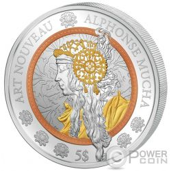 ART NOUVEAU Alphonse Mucha Rose Yellow Oro Ruthenium 2 Oz Moneda Plata 5$ Samoa 2016