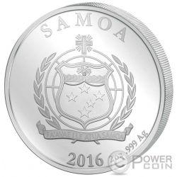 ART NOUVEAU Alphonse Mucha Oro Giallo Rosa Rutenio Moneta 2 Oz Argento 5$ Samoa 2016