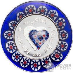 MURRINE MILLEFIORI GLASS ART Venetian Murano Silver Proof Coin 5$ Cook Islands 2016