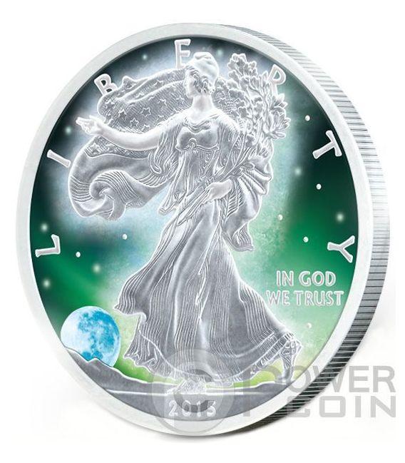 FROZEN WALKING LIBERTY Aurora Rodio 1 Oz Moneta Argento 1$ US Mint 2015