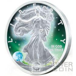 FROZEN WALKING LIBERTY Aurora Rhodium 1 Oz Silver Coin 1$ USA 2015