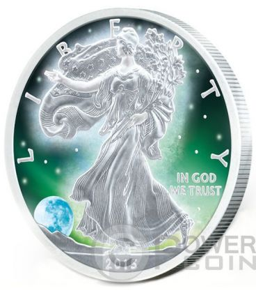 FROZEN WALKING LIBERTY Aurora Rodio 1 Oz Moneta Argento 1$ US Mint 2015
