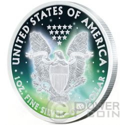 FROZEN WALKING LIBERTY Aurora Rhodium 1 Oz Moneda Plata 1$ US Mint 2015