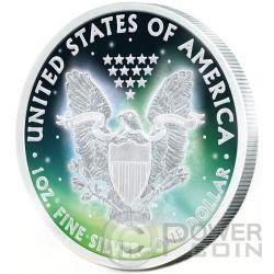 FROZEN WALKING LIBERTY Aurora Rhodium 1 Oz Silver Coin 1$ US Mint 2015