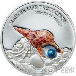 PEARL Miracle Of The Sea Marine Life Protection 1 Oz Серебро Монета 5$ Палау 2016