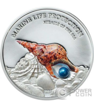 PEARL Miracle Of The Sea Marine Life Protection 1 Oz Silver Coin 5$ Palau 2016