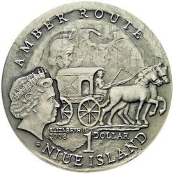 KALININGRAD Amber Route Road Silver Coin 1$ Niue 2008