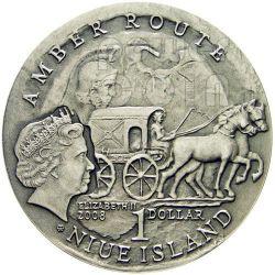 KALININGRAD Via Ambra Amber Route Moneta Argento 1$ Niue 2008