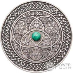 CELTIC Mandala Art II Malachite High Relief 3 Oz Серебро Монета 10$ Фи́джи 2016