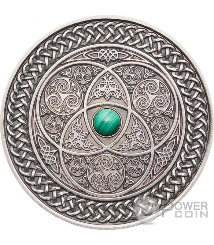 Celtic Mandala Art Ii Malachite High Relief 3 Oz Silver