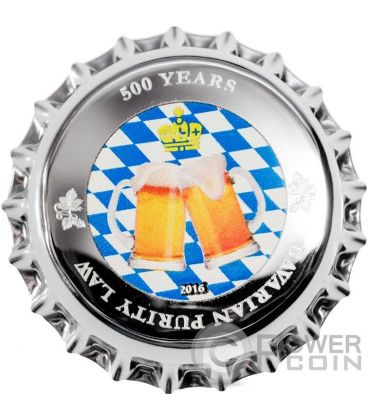 BAVARIAN PURITY LAW 500 Years Anni Tappo Birra Moneta Argento 1$ Palau 2016
