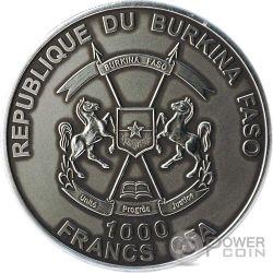 BIGFOOT Piedone Sasquatch 1 Oz Moneta Argento 1000 Franchi Burkina Faso 2016