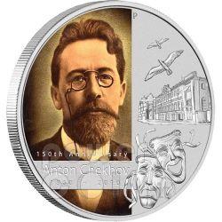 CHEKHOV Anton 150th Anniversary Silber Münze 1$ Tuvalu 2010