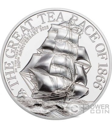 THE GREAT TEA RACE 150th Anniversary 2 Oz Silver Coin 10$ Cook Islands 2016
