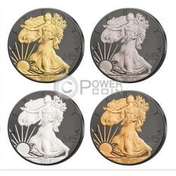 WALKING LIBERTY Prestige Set 4x1 Oz Moneda Plata 1$ Dollar USA 2015