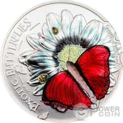 BUTTERFLY 3D Exotic Butterflies Cymothoe Hobarti Silber Münze 1000 Shillings Tanzania 2016