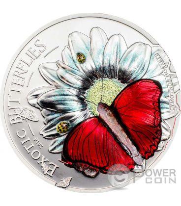 FARFALLA 3D Butterfly Farfalle Esotiche Cymothoe Hobarti Moneta Argento 1000 Shillings Tanzania 2016