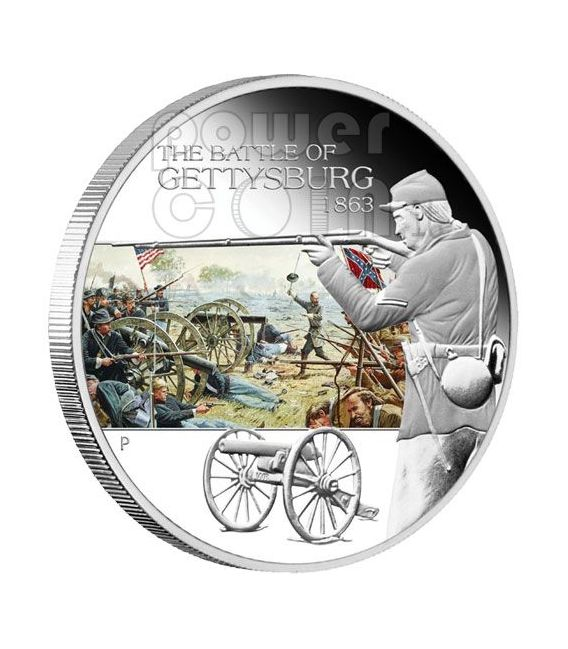 GETTYSBURG Battle 1863 Silver Coin 1$ Tuvalu 2009